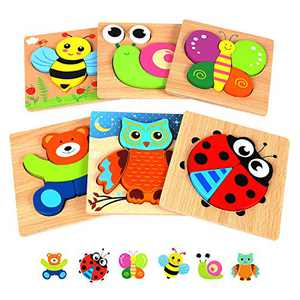 Springflower Wooden Toddler Jigsaw Puzzle Gift Toy for 1 2 3 Years Old Boys and Girls,6 Pack Animal Shape Montessori Toy for Infant,Toddler Sensory Toy,Fine Motor Skill Early Learning Educational Gift