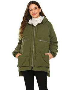 Beyove Women's Lightweight Down Jacket for Winter and Fall, Puffer Parka Coat with 2 Pockets Cotton Filling(Army Green S)