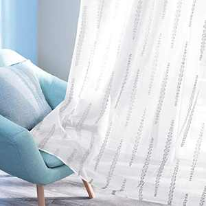 Deconovo Rod Pocket Grey Striped Jacquard Design White Sheer Curtains for Bedroom 2 Curtain Panels 52W x 95L