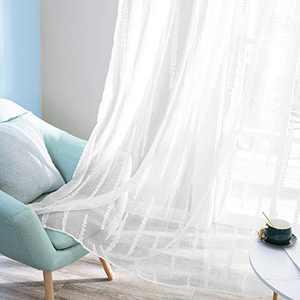 Deconovo Rod Pocket White Striped Jacquard Design White Sheer Curtains for Living Room 2 Curtain Panels 52W x 84L