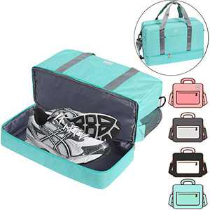 Gym Bag Shoes Compartment Shoulder Bag Travel Duffel Bag Swim Bag for Women and Men (Light Blue XL)