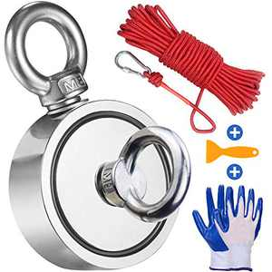 Double Side Magnet Fishing Magnet with 66ft Rope and Glove, 760LB Pulling Force Strong Neodymium Magnet with Safety Rope and Carabiner for Magnet Fishing and Retrieving in River, Diameter 2.64 inch
