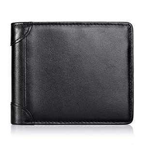 Mens Wallet RFID Genuine Leather Slim Bifold Wallets For Men Removable ID Windows 11 Cards Holders Gift Box (Black)