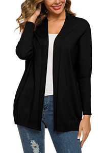 Urban CoCo Women's Solid Color Batwing Sleeve Open Cadigan (L, Black)