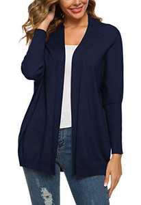 Urban CoCo Women's Solid Color Batwing Sleeve Open Cadigan (S, Navy Blue)