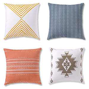 Decorative Throw Pillow Covers, Cushion Cases or Pillow Cases for Couch, Sofa, Bedroom, Bohemian Pillows Set of 4 18 X 18 Inches, Bohemian Pillows for Home Decor or Farmhouse, 100% Cotton, Reef