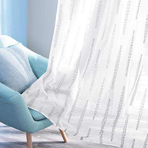 Deconovo Sheer Curtains Rod Pocket Panels Grey Striped Design Jacquard White Curtain Panels for Sliding Door 52W x 84L Inch Set of 2 Panels