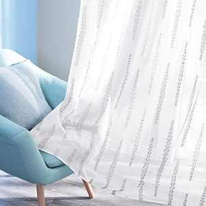 Deconovo Sheer Curtains Rod Pocket Panels Grey Striped Design Jacquard White Curtain Panels for Sliding Door 52W x 84L Inch Set of 2 Panels