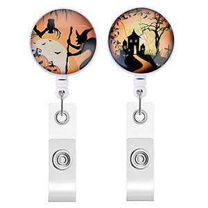 Souarts 2pcs Halloween Retractable Badge Reels, Retractable Badge Clip, ID Badge Reels, Badge Holder Retractable, Halloween Pumpkin Witch Castle Halloween Badge Reel
