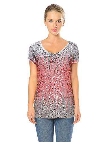 Radtengle Sequin Top Women's Tunic Summer Short Sleeve V Neck Party Tunic Tops