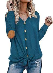 Womens Long Sleeve Shirts Blue Elbow Patch Button Down Front Tie Knot Tops Blouses XL