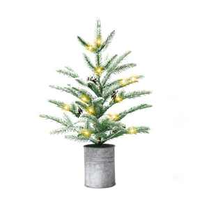 Small Christmas Tree 24 inch Prelit with 60 LEDs Mini Christmas Tree Rustic Style Tabletop Tree 2 ft