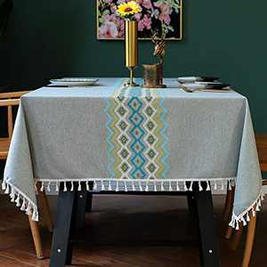 Smiry Embroidery Tassel Tablecloth - Cotton Linen Dust-Proof Table Cover for Kitchen Dining Room Party Home Tabletop Decoration (Rectangle/Oblong, 55 x 102 Inch, Grey)