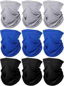 Lightweight Neck Gaiter Sun Protection Face Cover Thin Face Scarf (Grey, Dark Blue, Black)