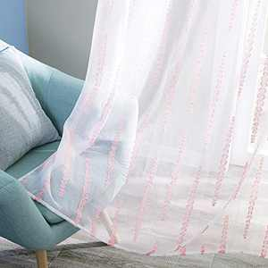 Deconovo 2 Panel Pink Striped Design Sheer Curtains Rod Pocket Window Jacquard Drapes for Girls Room 52W x 45L Inch White