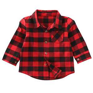 Kids Little Boys Girls Long Sleeve Button Down Red Plaid Flannel Shirt Dress with Belt (1-2T, Red Plaid Shirt)