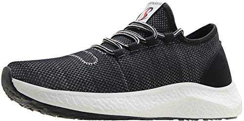 BenSorts Gym Shoes for Men Tennis Comfortable Walking Lightweight Sneakers for Workout Training Running Size 9.5 Black Gray