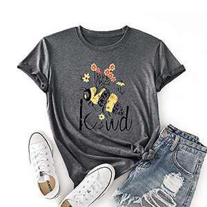 JTJFIT Women Flower Bee Kind T-Shirt Graphic Shirt Tees Short-Sleeved Girls T-Shirt Top, Dark Gray, Large