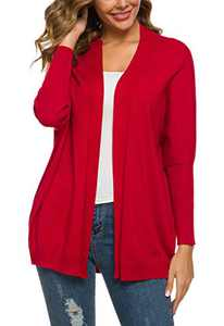 Women's Solid Color Batwing Sleeve Open Cadigan (L, Red)