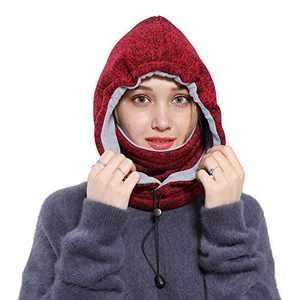 Ski Face Mask Women Men Balaclava Fleece Hood Winter Face Mask Head Warmer Face Warmer for Snowboarding Dog Jogging(Burgundy red)