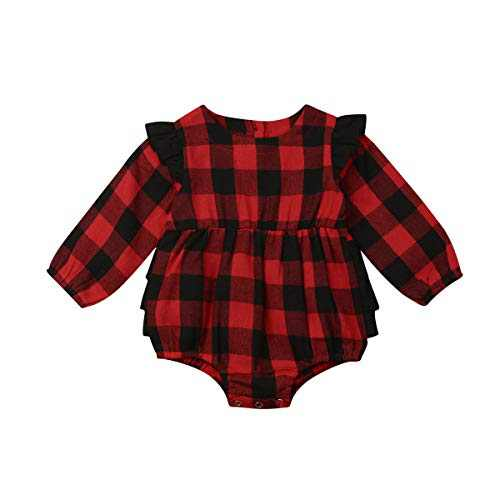 Kids Little Boys Girls Long Sleeve Button Down Red Plaid Flannel Shirt Dress with Belt (3-6M, Red Plaid Romper)