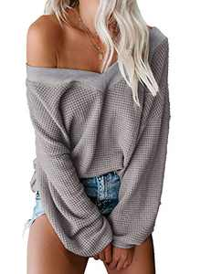 Aleumdr Women's V Neck Batwing Sleeve Waffle Knit Sweater Off The Shoulder Pullover Jumper Tops Gray Small 4 6