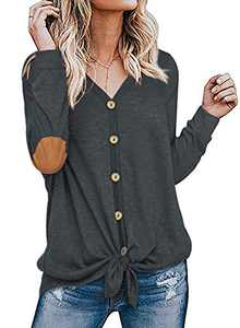 Womens Long Sleeve Shirts Elbow Patch Button Front Tie Knot Loose Fitting Tops Blouses Grey S