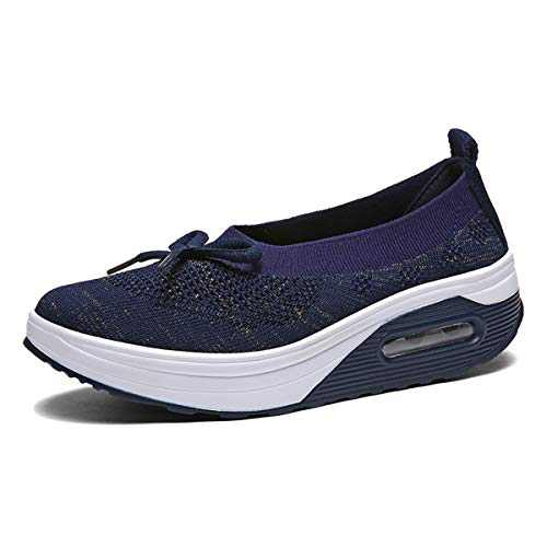 EnllerviiD Women Breathable Mary Jane Shoes Buckle Casual Walking Slip On Sneakers Blue 40