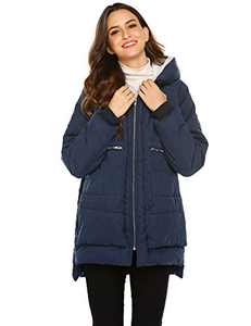 Beyove Winter Down Jacket Women Parka Warm Thick Long Down Cotton Coat Hooded Coat Outerwear(Navy Blue M)