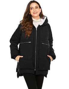 Beyove Women's Thickened Down Jacket with Hood Lightweight Winter Warm Parka Waterproof Coat Black L