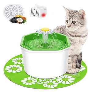 Cat Water Fountain, VITCOCO 54oz/1.6L Automatic Pet Fountain Dog Water Dispenser with LED Design, with 2 Carbon Filters, 1 Mat, 1 Cleaning Brushes, 2 Cat Toys Water Fountain for Cats Dogs Pets