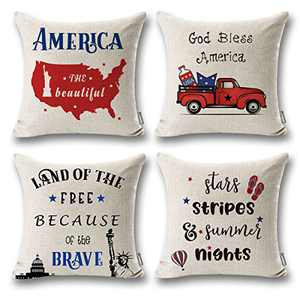 ONWAY 4th of July Decor God Bless America Outdoor Pillow Covers 18x18 Land of The Free Because of The Brave Patriotic Quote Decorations for Sofa Couch, Set of 4