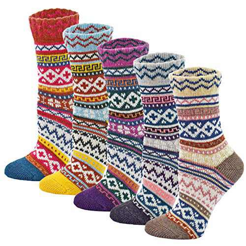 Womens 5 Pairs Vintage Style Winter Warm Thick Knit Wool Cozy Crew Socks, free size (Q-5)
