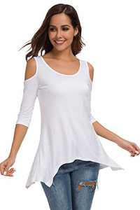SITELUOYG Womens Cold Shoulder Tunic Tops Short Sleeve Crew Neck Cotton Casual T Shirt Swing Blouse White