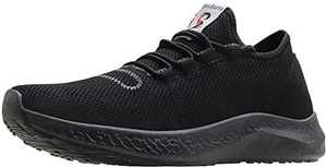 BenSorts Black Sneakers for Men Comfortable Walking Shoes Gym Lightweight Tennis Footwear for Training Size 9.5 Black