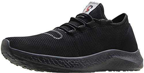 BenSorts Black Sneakers for Men Comfortable Walking Shoes Gym Lightweight Tennis Footwear for Training Size 6.5 Black