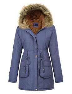 KANCY KOLE Women's Faux Fur Lined Outwear Jacket Thicken Fleece Parkas Long Coats (L,Navy)