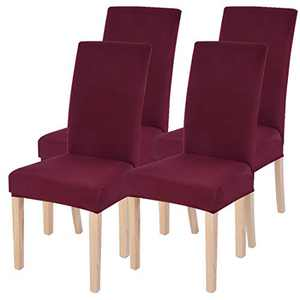 Dining Room Chairs Cover Removable Washable Chair Covers Protector for Home Hotel Dining Room Ceremony Banquet Wedding Party Restaurant High Back Chair Slipcovers Set 4 Pack Wine Red