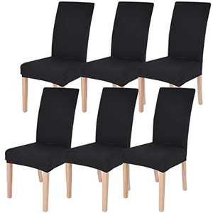 Dining Chairs Cover Removable Washable Chair Covers Protector for Home Hotel Dining Room Ceremony Banquet Wedding Party Restaurant High Back Chair Slipcovers Set 6 Pack Black