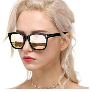 Myiaur Classic Sunglasses for Women Polarized Driving Anti Glare 100% UV Protection (Black Frame / Pink Mirrored Glasses)