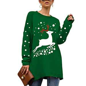 Uni Clau Women Christmas Elk Pullover - Crew Neck Long Sleeve Cute Sweaters Fashion Top wear with Leggings,Jeans Green XL