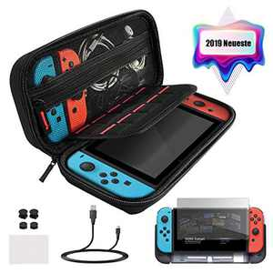 ECHTPower Case for Nintendo Switch, Nintendo Switch Accessory Set Carry Case with Switch Protective Cover Screen Film Thumb Caps and Charging Cable Storage Bag for Switch and Accessories