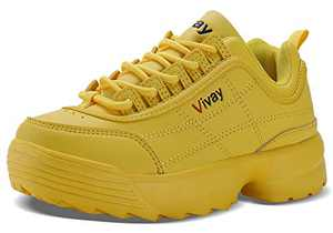 WYHAN Kids' Shoes Girls Retro Sneakers Casual Sports Tennis Shoes for Boys Walking Lace up Fashion Sneakers£¨Little Kid/Big Kid£ Yellow