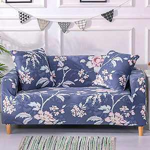 UMINEUX Printed Sofa Cover High Stretch Sofa Slipcovers Couch All Cover Furniture Protector with Two Pillow Covers (Sofa-3 Seater, Colony Blue)