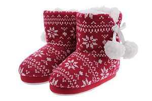 shoeslocker Girls Winter Plush Bootie Slippers Red Size 1-2