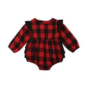 Kids Little Boys Girls Long Sleeve Button Down Red Plaid Flannel Shirt Dress with Belt (6-12M, Red Plaid Romper)