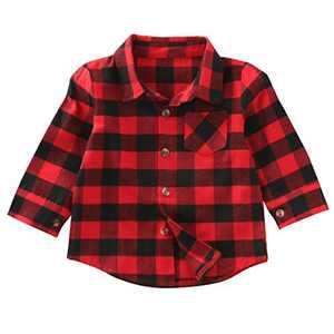 Kids Little Boys Girls Long Sleeve Button Down Red Plaid Flannel Shirt Dress with Belt (5-6T, Red Plaid Shirt)