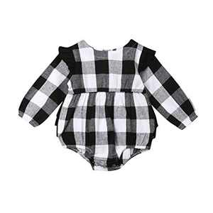 Kids Little Boys Girls Long Sleeve Button Down Red Plaid Flannel Shirt Dress with Belt (12-18M, White Black Plaid Romper)