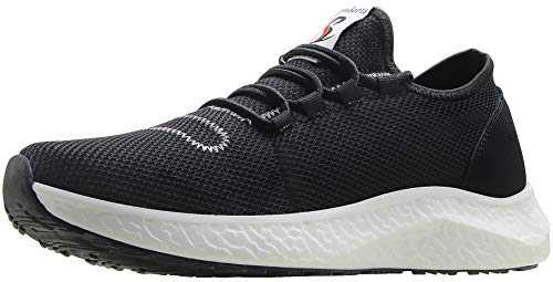 BenSorts Mens Sneakers for Walking Comfortable Tennis Shoes for Gym Workout Training Jogging Size 9.5 Black White