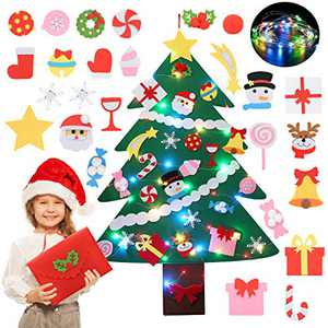 Felt Christmas Tree, Coxeer DIY Felt Christmas Tree Ornaments with 28PCS Christmas Decorations String Lights & Gift Bag,Felt Christmas Tree Decorations for Kids Christmas Party Supplies